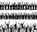 Monkey crowds editable vector silhouettes of of excited monkeys Royalty Free Stock Images