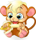 Monkey cub the eats tasty bananas Royalty Free Stock Photo