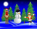 Monkey deer and a snowman on the edge of the forest vector illustration Stock Images