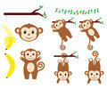 Monkey designs a set of cute great for invitations party theme etc Stock Photos