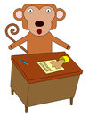 Monkey at desk a cartoon in front of a with spilled coffee Stock Photography