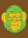 Monkey face made up of bananas illustration a banana collage creating a chimp Royalty Free Stock Photo