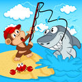 Monkey on fishing vector illustration Stock Photo