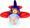 Monkey flying airplane illustration of isolated cartoon Stock Photography