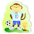 Monkey football player Royalty Free Stock Photo