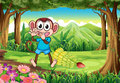 A monkey at the forest with bananas illustration of Stock Image