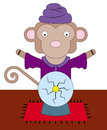 Monkey the fortune teller a with a crystal ball Royalty Free Stock Photo