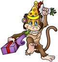 Monkey and Gift Stock Image