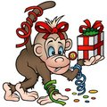 Monkey and Gift Royalty Free Stock Photo