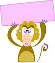 A monkey girl with an empty sign. Stock Images