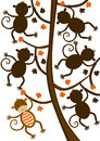 Monkey hanging on tree silhouette shape game find the correct of the colored circle the differences answer the correct is the top Stock Photography