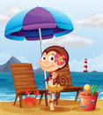 A monkey in a hawaiian attire at the beach illustration of Royalty Free Stock Photos