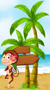 A monkey in a hawaiian attire dancing near the wooden arrowboard illustration of Royalty Free Stock Images