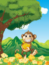 A monkey holding a banana in the forest illustration of Stock Images