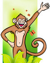 Monkey with Jungle Background Royalty Free Stock Photography