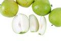 Monkey le fruit vert pomme de la nature sur le fond blanc Photographie stock libre de droits