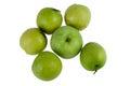 Monkey le fruit vert pomme de la nature sur le fond blanc Images libres de droits