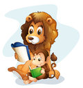 A monkey and a lion reading books illustration of on white background Royalty Free Stock Images