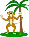 Monkey and the palm Royalty Free Stock Photography