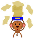 Monkey paper work a funny illustration of a carrying a lot of office papers Royalty Free Stock Image
