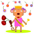 Monkey of the prom a cartoon illustration a queen Royalty Free Stock Photos