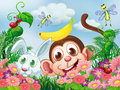 A monkey and a rabbit at the garden with insects illustration of Stock Photo