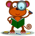 Monkey research a holding a magnifying glass while reading a book Royalty Free Stock Photos