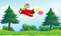 A monkey riding in an aircarft with two balloons Royalty Free Stock Photo