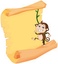 A monkey and a roll illustration of on white background Stock Images