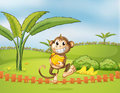 A monkey running away with bananas illustration of Stock Photos