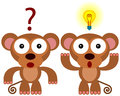 Monkey s answer an illustration of two monkeys one is wondering while the other has an idea Stock Photography