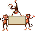 Monkey's cartoon with blank board Royalty Free Stock Photos
