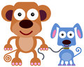 Monkey s pet dog a humorous illustration of a with a Royalty Free Stock Photography