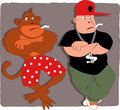 Monkey see monkey do rapper poser and a in boxer shorts smoking cartoon Stock Images