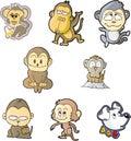 monkey set one Royalty Free Stock Photo