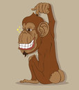 Monkey stylish vector on gray background Stock Images