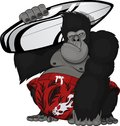 Monkey with a surfboard vector illustration Royalty Free Stock Photography