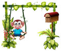 A monkey swinging beside a wooden mailbox illustration of on white background Royalty Free Stock Images