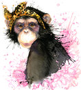 Monkey T-shirt graphics, monkey chimpanzee illustration with splash watercolor textured background.