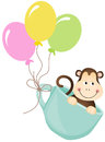 Monkey in teacup with balloons