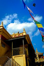 Monkey temple nepal with a blue summer sky julian beautiful composition of nepals and flying bird Royalty Free Stock Photography