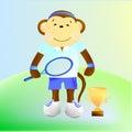 Monkey tennis player Royalty Free Stock Photo