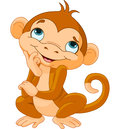 Monkey thinking illustration of cartoon Royalty Free Stock Image