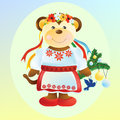 Monkey in ukrainian suit the main symbol of illustration is traditional keeps branch of christmas tree with yellow and blue Royalty Free Stock Photography