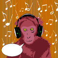 Monkey wearing headset with speech bubble light brown Royalty Free Stock Photos