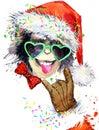 Monkey year. Cool monkey party. watercolor illustration. Monkey Santa Claus.