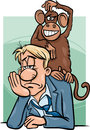 Monkey on your back cartoon humor concept illustration of saying or proverb Stock Image