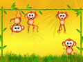Monkeys in the jungle Royalty Free Stock Photo