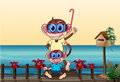 Monkeys wearing goggles illustration of Stock Photography