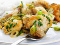 Monkfish in ginger with Spring onions and rice Stock Images